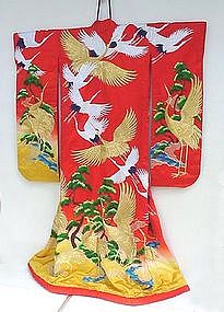 Very Colorful Red Japanese Wedding Gown