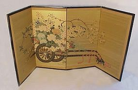 Vintage Japanese Silk Screen with Flower Cart