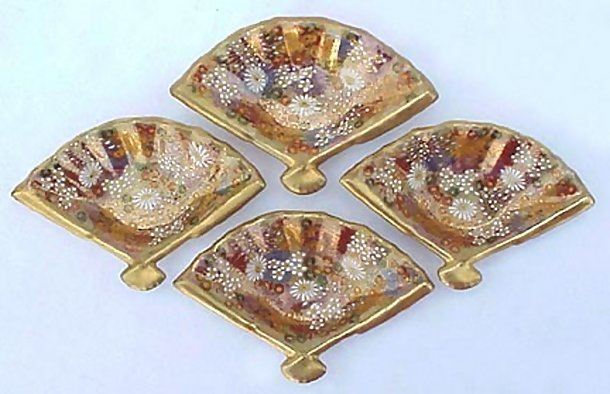Japanese Satsuma Mint Dishes, Fan Shaped