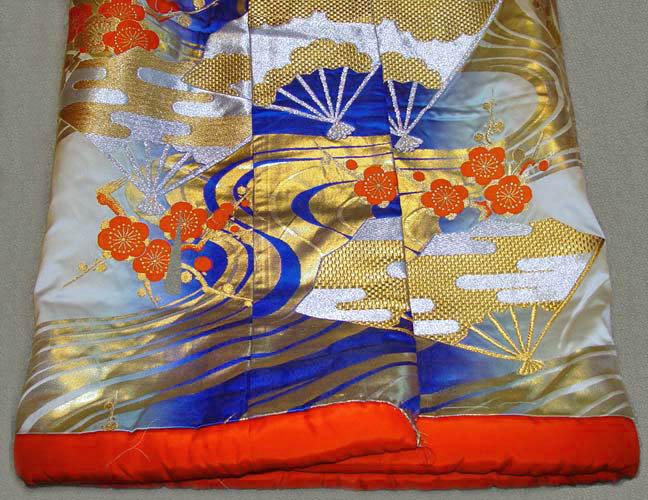 Japanese Wedding Gown; Fans, Plum Blossoms, River