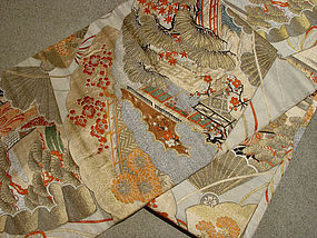 Antique Nishijin Silk Obi with Gold Pines, Fans