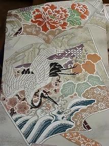 Antique Nishijin Obi,Cranes and Peonies