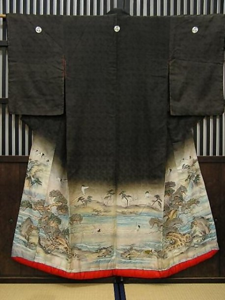 Beautiful Antique Japanese Silk Kimono, Wedding Gown
