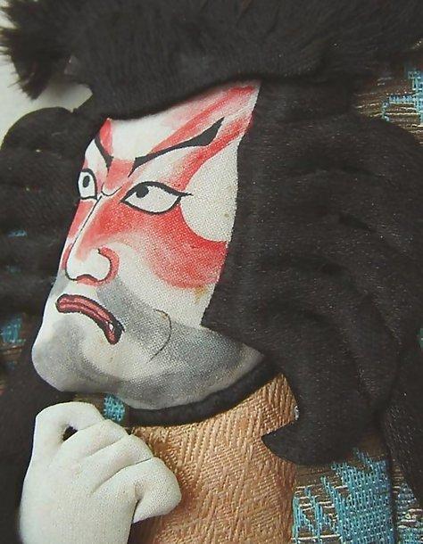 Large Antique Japanese Oshie Ningyo Doll, Kabuki Actor