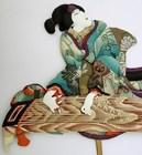 Old Japanese Oshi-e Ningyo Doll Ukiyo-e Kabuki Geisha