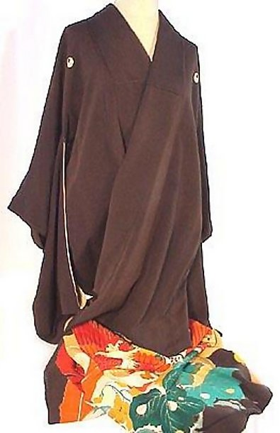 Ho-O Bird in Black Formal Silk Kimono