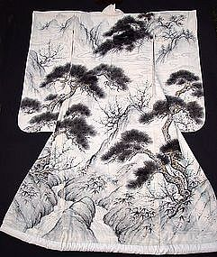 Stunning Japanese Wedding Gown: Hand Dyed Black Pines
