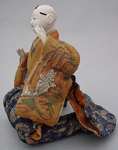 Large Japanese Musician Dolls in Samurai's Kamishimo