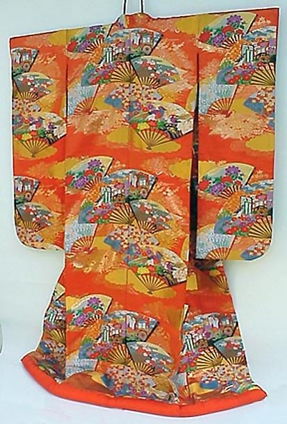 Japanese Wedding Kimono Gown,  Fans with Flowers