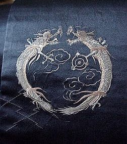 Old Blue Satin Obi with Amazing Embroidery