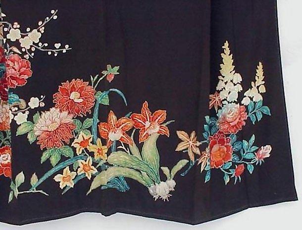 Yuzen Flowers in Black Antique Kimono