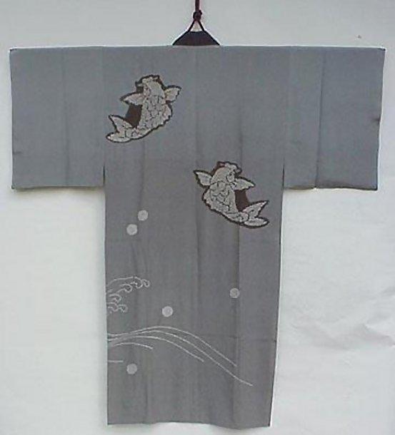 Tie-dyed Carps in Man's Kimono
