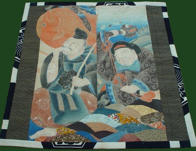 Antique Quilt Art, Japanese Nobori Banner Wall Decor
