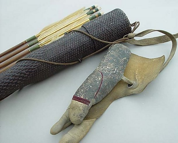 Antique Japanese Quiver, Arrows and Glove, Kyudo