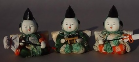 Cute Japanese Kimekomi Hina Doll, Three Servants Dolls