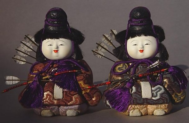Cute Japanese Kimekomi Hina Dolls, Imperial Guards