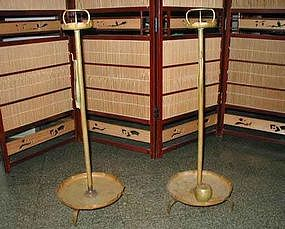 Old Japanese Brass Candle Stands