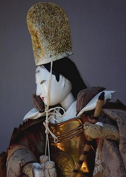 Antique Japanese Lady Warrior Doll, Large Ningyo Set