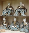 Antique Japanese Hina Dolls, Large Edo Musician Ningyo