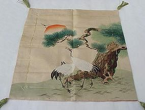 Hand Painted Fukusa with Cranes & Pine Trees