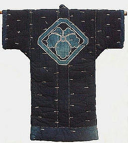 Kimono Style Indigo Futon Night Cover Crest