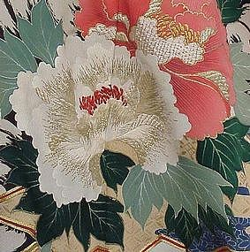 Antique Black Kimono with Beautiful Peonies