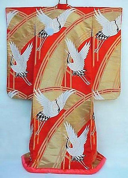 Red Uchikake Wedding Gown, Golden Bridges