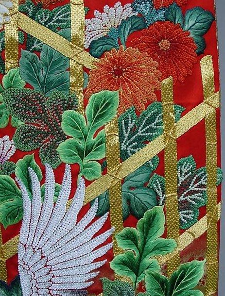 Red Japanese Wedding Kimono Gown, amazing embroidery