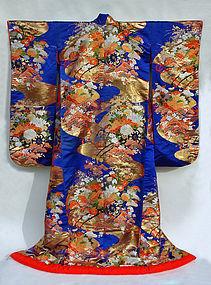 Dark Blue Japanese Wedding Gown, Flower Cart, Nishijin