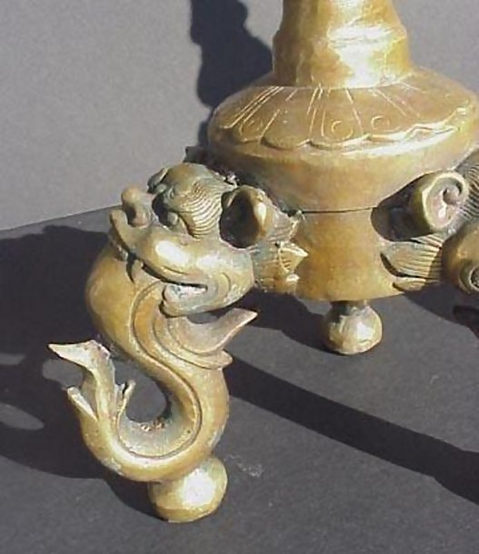 Old Bronze Candlesticks with Lion Heads