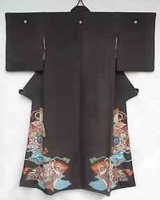 Antique Black Silk Kimono with Fans