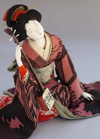 Japanese Ukiyo Ningyo, Beautiful Geisha Doll