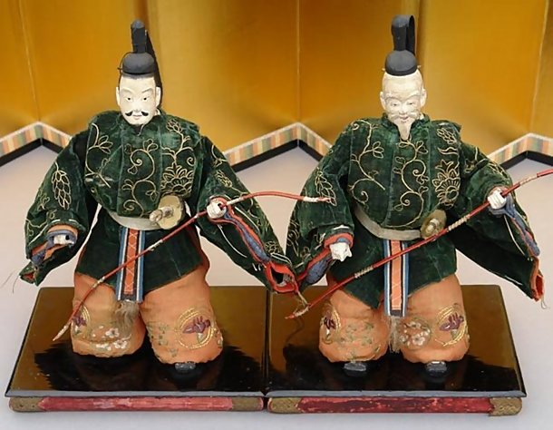 Unique Japanese Edo Zuishin Dolls in Kabuki Costume