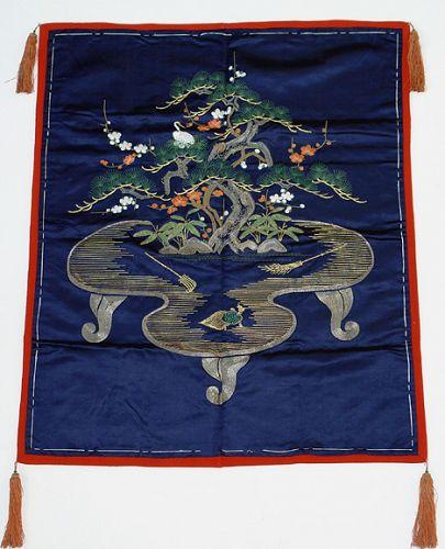 Beautiful Old Japanese Fukusa, Sho-Chiku-Bai, Mt Horai
