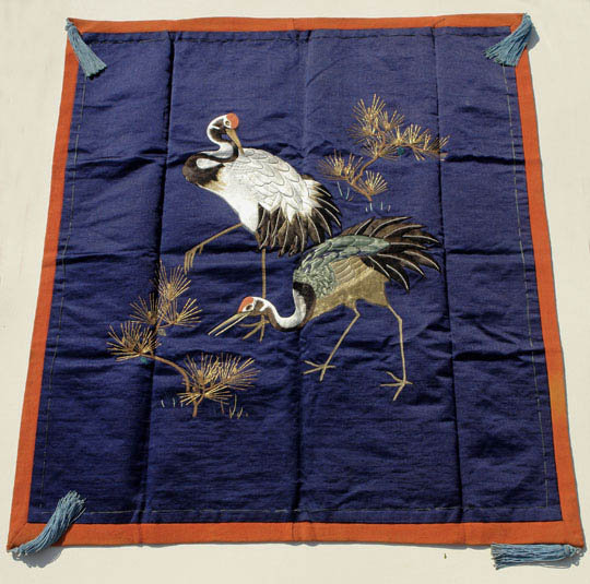 Old Fukusa, Japanese Gift Cover,  a Pair of Cranes