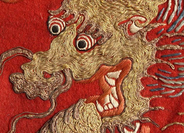 Chinese Textile Embroidery Art, Dragon and Phoenix