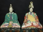 Antique Japanese Clay Doll, Emperor and Empress Dolls