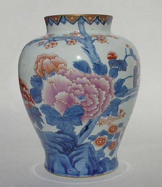 Large Japanese Arita Vase in Fukagawa Style