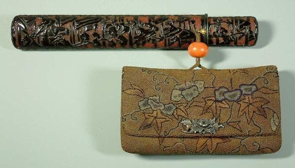 Japanese Tobacco Pouch, Pipe Case with coral Ojime