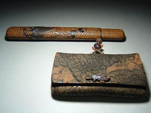 Japanese Antique Tobacco Pouch,  Cockerel and Hen