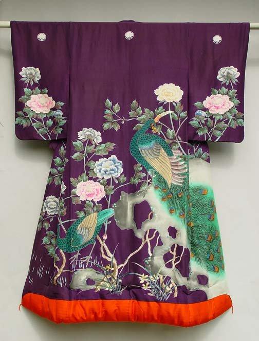 Antique Purple Uchikake Wedding Gown, Peacock & Peonies