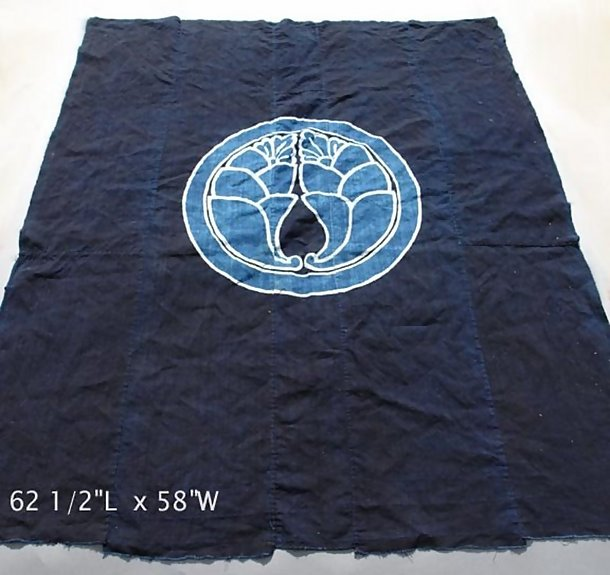 Old Japanese Aizome Futon Comforter with Family Crest