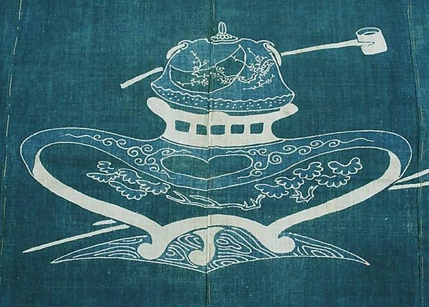 Antique Japanese Futon Bed Cover, Theme Tea Ceremony