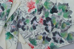 Beautiful Hand Dyed Flowers on Silk Kimono Roll