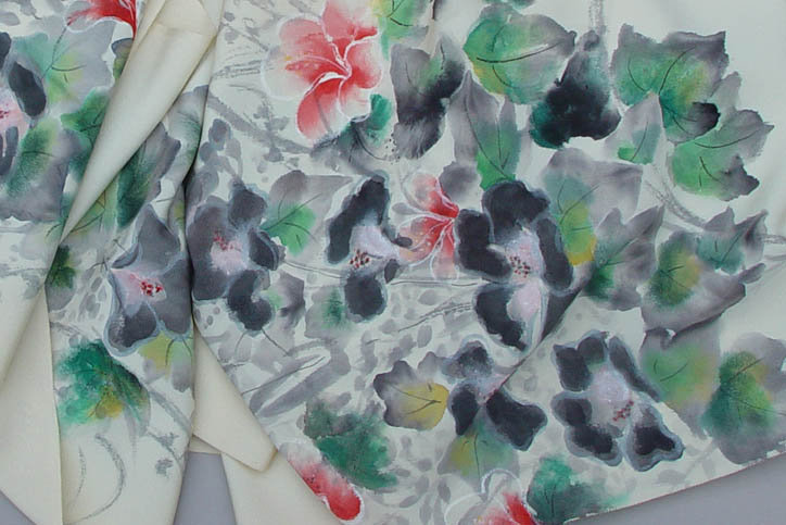 Beautiful Hand Dyed Flowers on Silk Kimono Roll