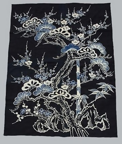 Japanese Folk Art, Sho-Chiku-Bai in Aizome Futon Cover