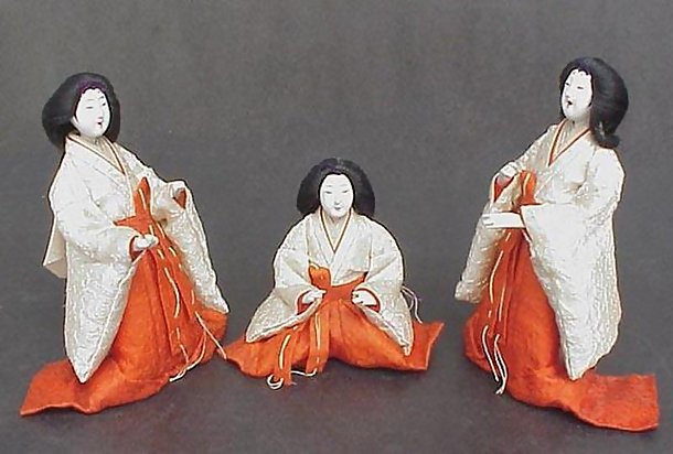 Antique Hina Dolls,  Merry Ladies-in-waiting