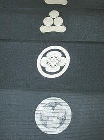 Old Japanese Textile, Black Silk with Crests