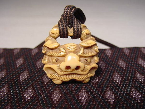 Japanese Antique Woven Tissue Holder, Carved Lion Head