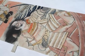 Antique Japanese Nobori Banner, The Last Battle of The Heike